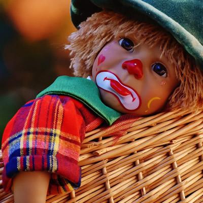 Toy clown face sad