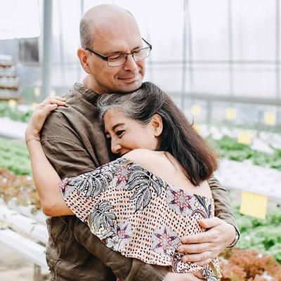 Matured couple love hug