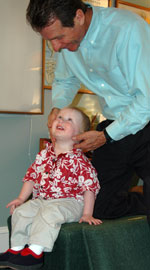 Dr. David Abblett, Concord Chiropractor, adjusting a child
