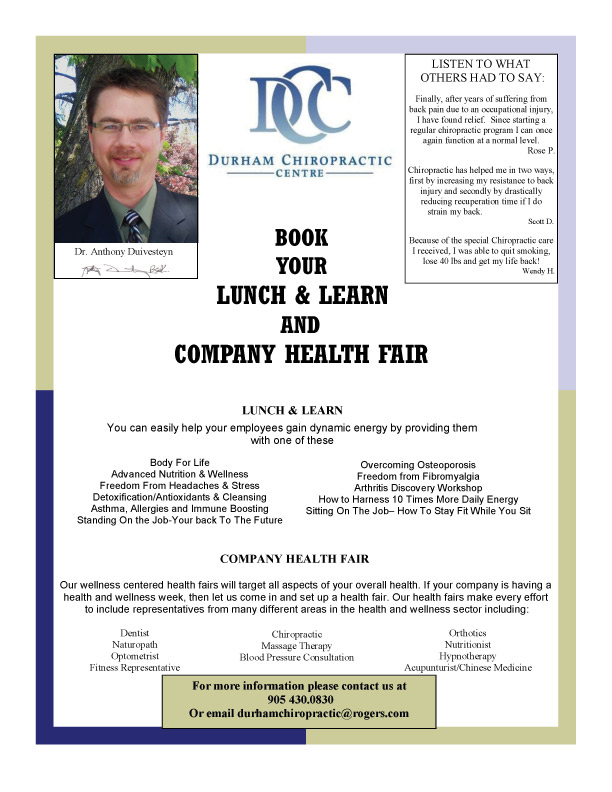 Lunch and Learn offered by Durham Chiropractic Centre