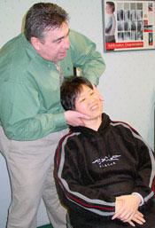 Dr. Kunkel adjusting a patient