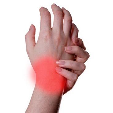 Wrist pain dramatization.
