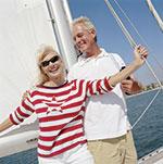 happy couple sailing