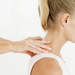 Woman getting a neck adjustment