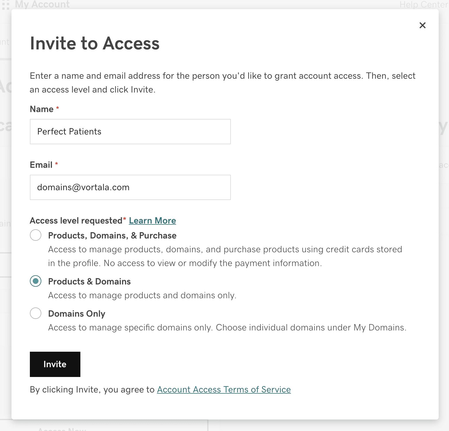 Delegate GoDaddy access