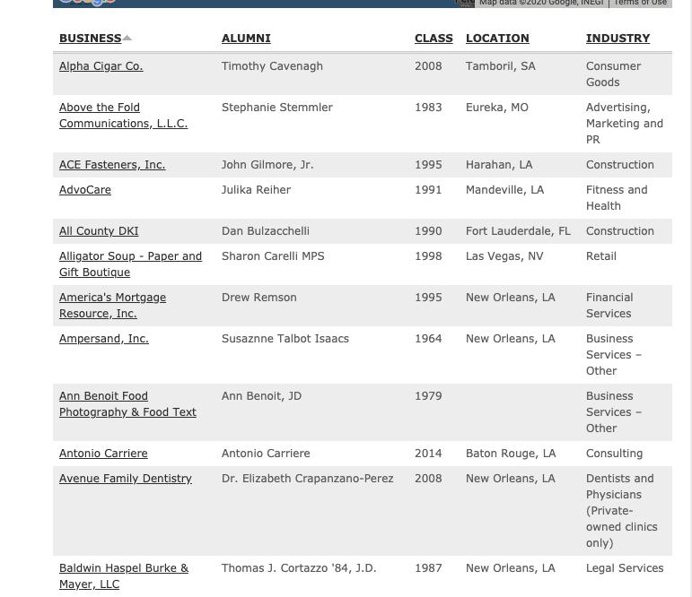 alumni directory example