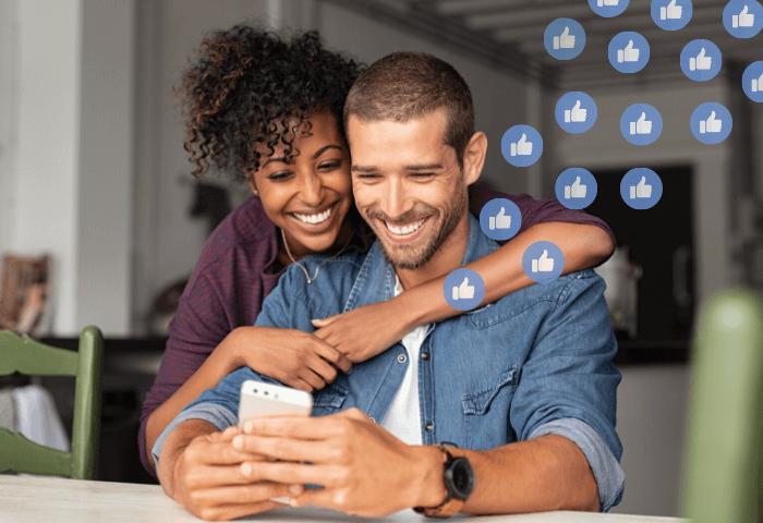 Couple looking at social media