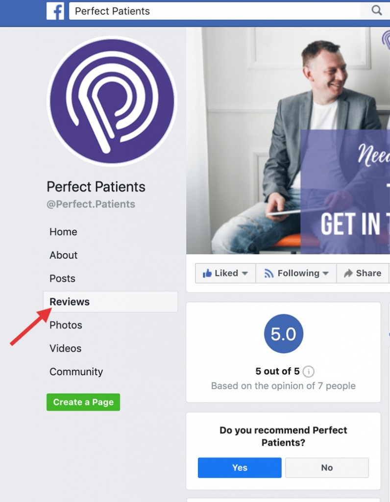 Example of Facebook reviews page