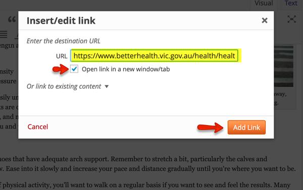 Insert complete URL