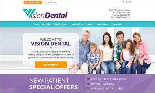 Vision Dental website