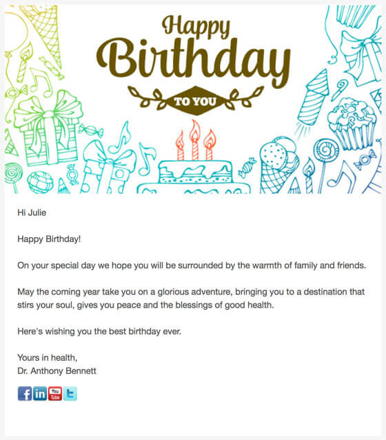 Happy Birthday Automated Email Greeting from Dentist