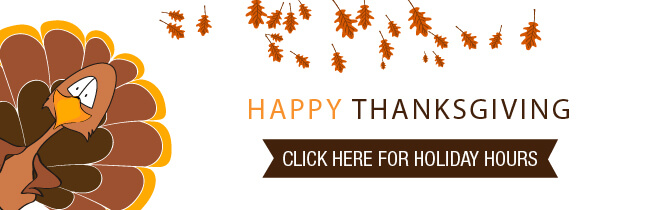 Thanksgiving holiday hours banner.