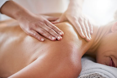 Closeup relaxing shoulder massage