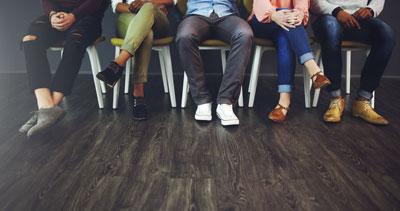 Patients feet in waiting room