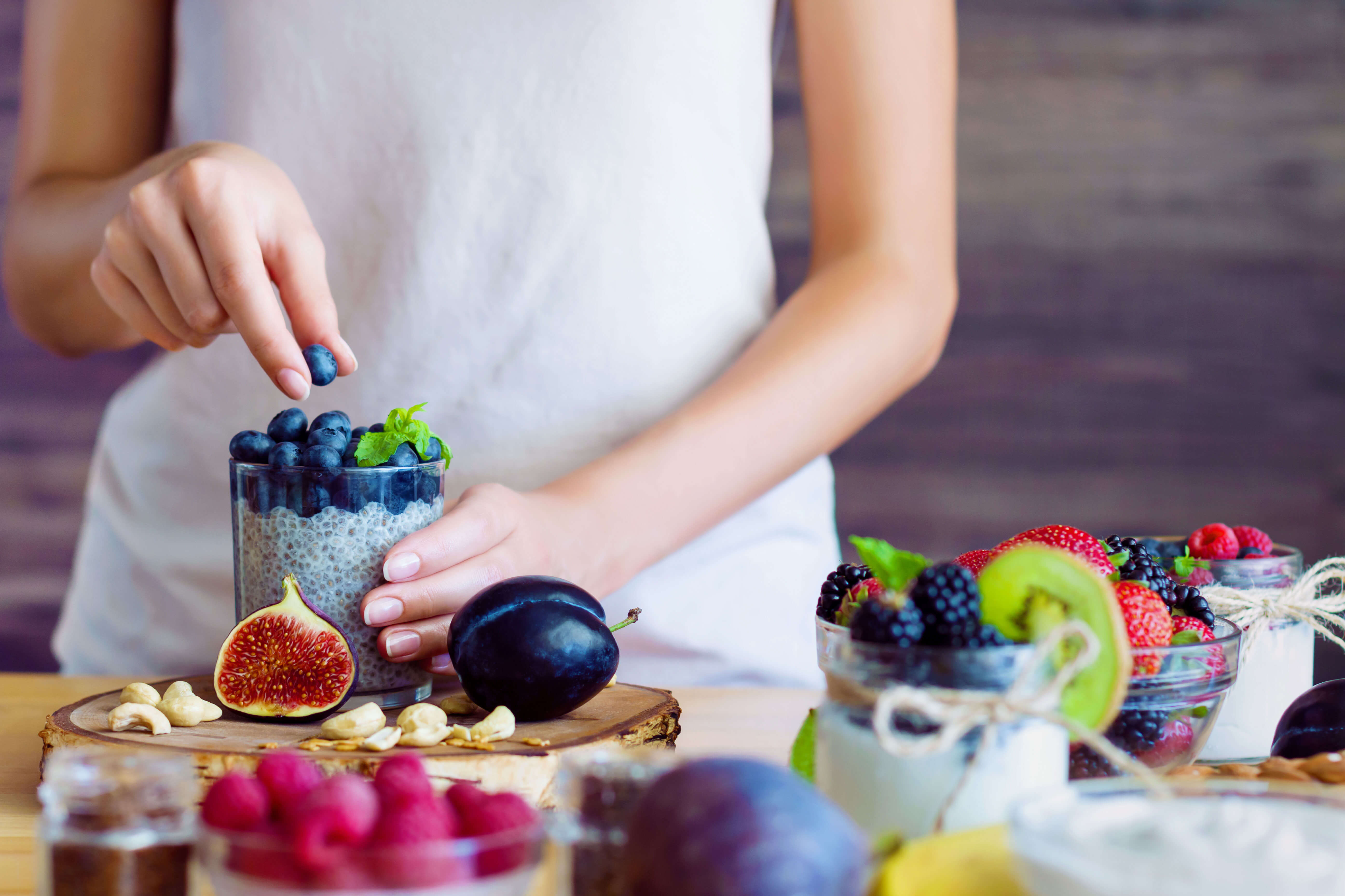 Woman making healthy snack