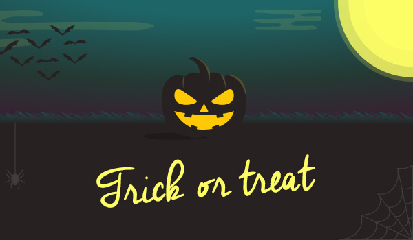 jack-o-lantern trick or treat banner