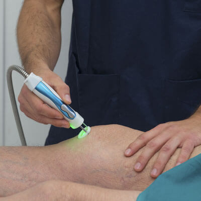 Laser therapy on knee
