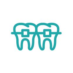 Illustration of teeth wearing braces