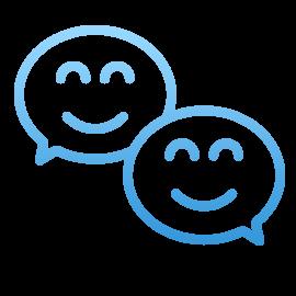 blue conversation bubbles icon