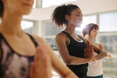 Women in yoga class